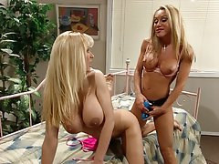 Blonde strap-on pussy masturbation excercise