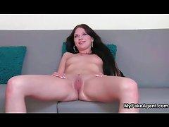 Naked amateur brunette forced