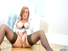 Brunette buxom MILF and her glass friend