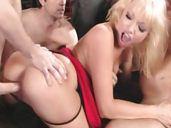 Maya Hills and an asian bitch gangbanged