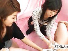 Weird Japanese CFNM soapy penis washing