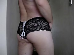black lace and leather cock strap