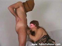 Weird sista with a shameless hole wears a mask during sex