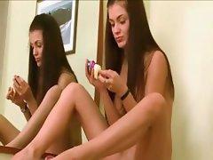Cute brunette babe undress off