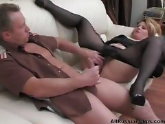 Factious Russian hooker with a droll poontang samples a hunk's dong