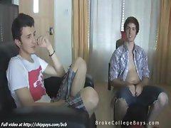 4 college boys having fun
