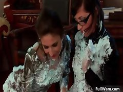Two sexy Euro lesbians covering each part4