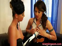 Saucy brunette lesbos foreplay