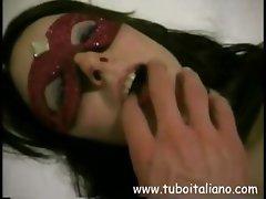 Bluish girl with an entertaining melissa's mop buckett, Katia, hides behind a mask