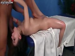 Relishable belle with a rapturous cave gives her masseur a taste of her quim