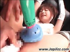 Wacky Japanese biddie with an iniquitous innie gets vibed to orgasm