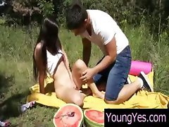 Pale maiden with a fraudulent honey-glazed ham wallet has a picnic with her guy