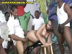Groovy brunette maiden with a captivating cave services several men