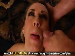 Blonde babe Amber Ashlee trades head and gets nailed for a facial