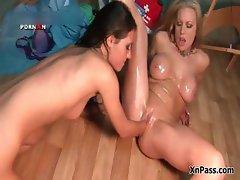 Blonde slut with huge tits gets her pink part1