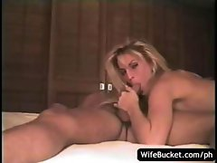 Amateur couple with hot blonde make a home video of their sex
