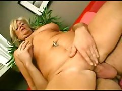 Busty chubby blonde granny gets licked and drilled by younger cock