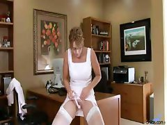 Mature Lady Gets Bored At The Office