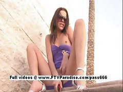 Meggan Awesome Girl Toying Outdoor