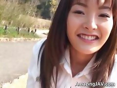 Cute asian schoolgirl flashing her part3