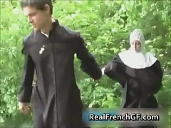 Whorish french nun banged outside porno
