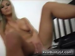 Yummy buxom girlfriend stripping her black