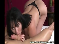 Buxom masseuse caresses slow and deep