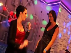 Drenched vixens grind on each other showing what they got