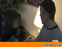 Black young lady stroking white shafts - Interracial dick sucking 9