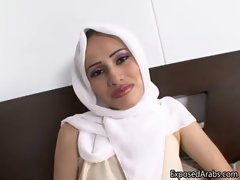 Arab hijab vixen with big artificial hooters showing