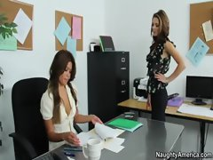 Kiera persuades her boss to give her a raise by seducing her