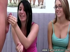 College vixens gives a prick pulling demo