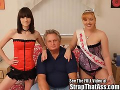 Two Strap On Fem Dom Princesses Fuck A Plumper Subby