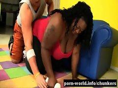 Black Obese Daphne Daniels Rides Obese White Prick