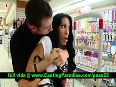 Mya Nichole dark haired stealing from a store