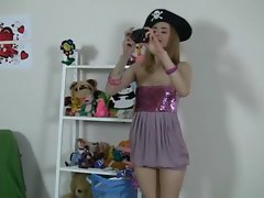 Seductive lass plays with luscious toys and bear
