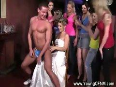 Bride and her bridemaids luxuriate stripper