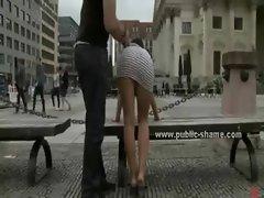 Dark haired seductive slutty girl in short dress tied