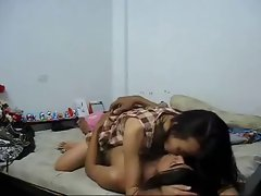 Thai students screwing in their bedroom
