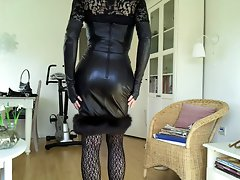 Sissy sexual ebony leather dress 1