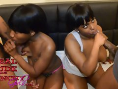 Two 18 years old Ebony Nymphos Liyah Chase and Shasha Rey Have Orgy