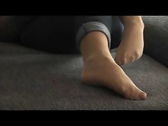 Big Shoot over my pantyhosed Feet