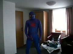 blue spiderman demonstrates phallus