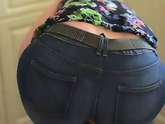 Mum Aged in stiff jeans big backside ass stepmom phat naughty butt