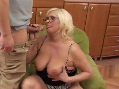 Plumper Tempting blonde Granny Screws Younger Lad