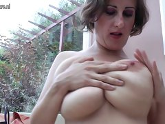 Big breasted experienced slutty mom playing alone