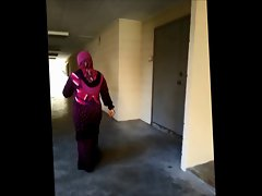 Lewd malay tudung (hijab) big butt cougar