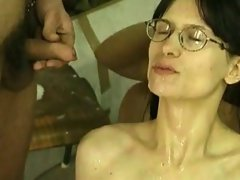 Very hairy vixen with no breast receives a shpwer