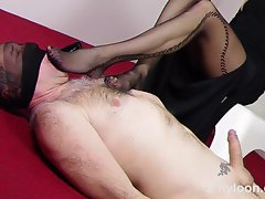 SLAVE Strokes PANTYHOSED FEET