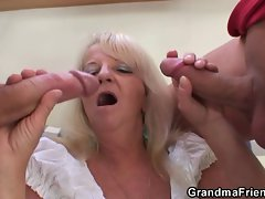 Blond granny in filthy triplet orgy